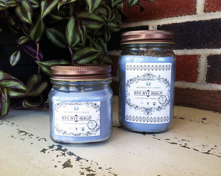 Try a healthy way to repel those pesky bugs this summer season. Our Bye Bye Bugz! candles are crafted from soy wax, therapeutic grade essential oils and natural pigment. Lightly tinted in a soft lilac and scented with citronella, peppermint, cedarwood and lavender essential oils.