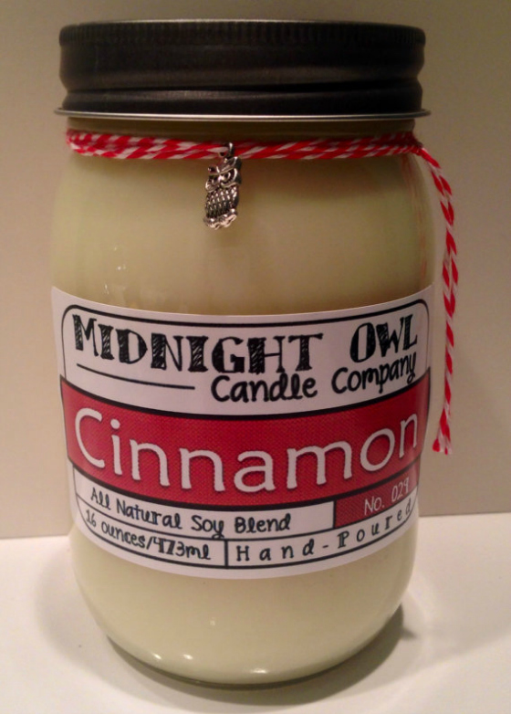 Cinnamon Mason Jar Candle from Midnight Owl Candle Co.