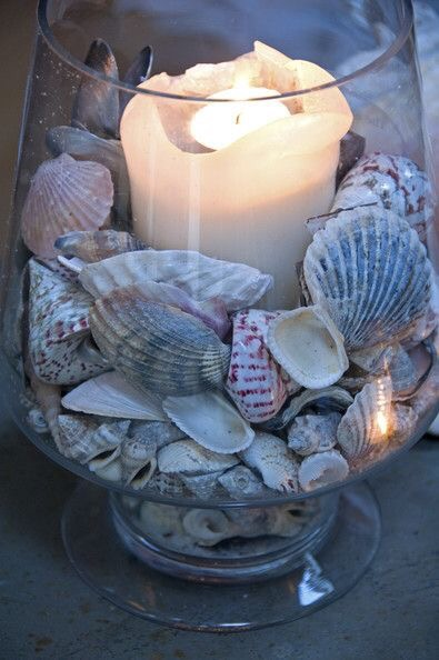 Candles DIY Shells and Stones