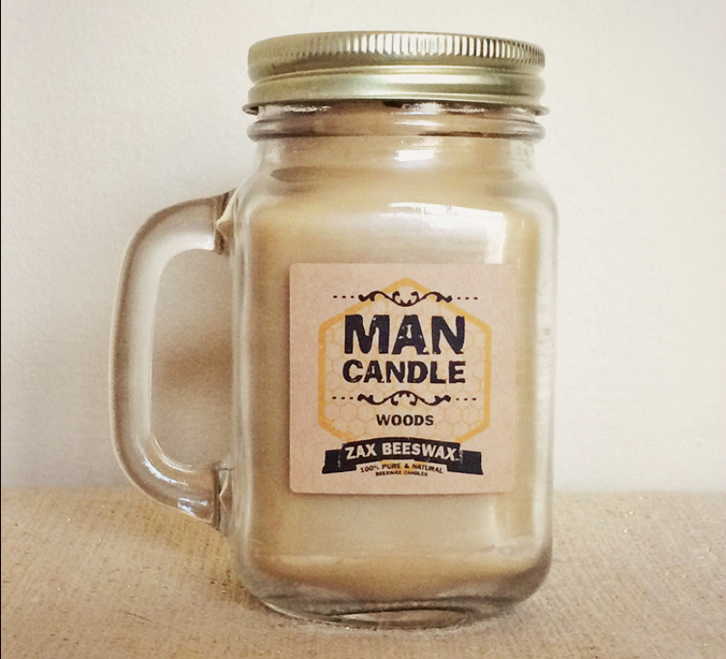 Man Candle (Woods) BEESWAX 16oz Mason Jar Mug Candle