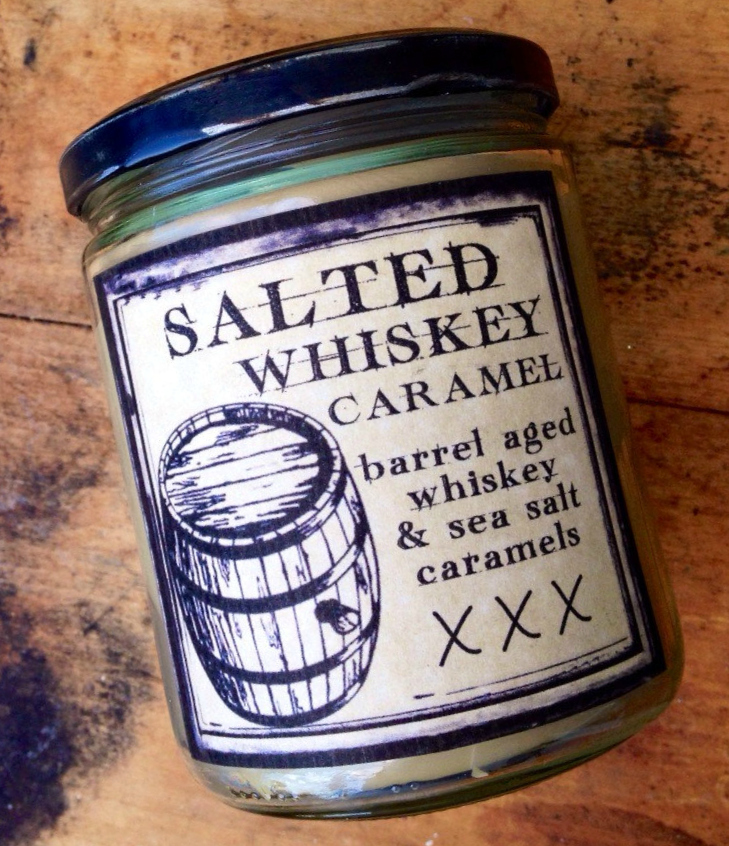 Salted Whiskey Caramel 16oz. Pure soy candle.