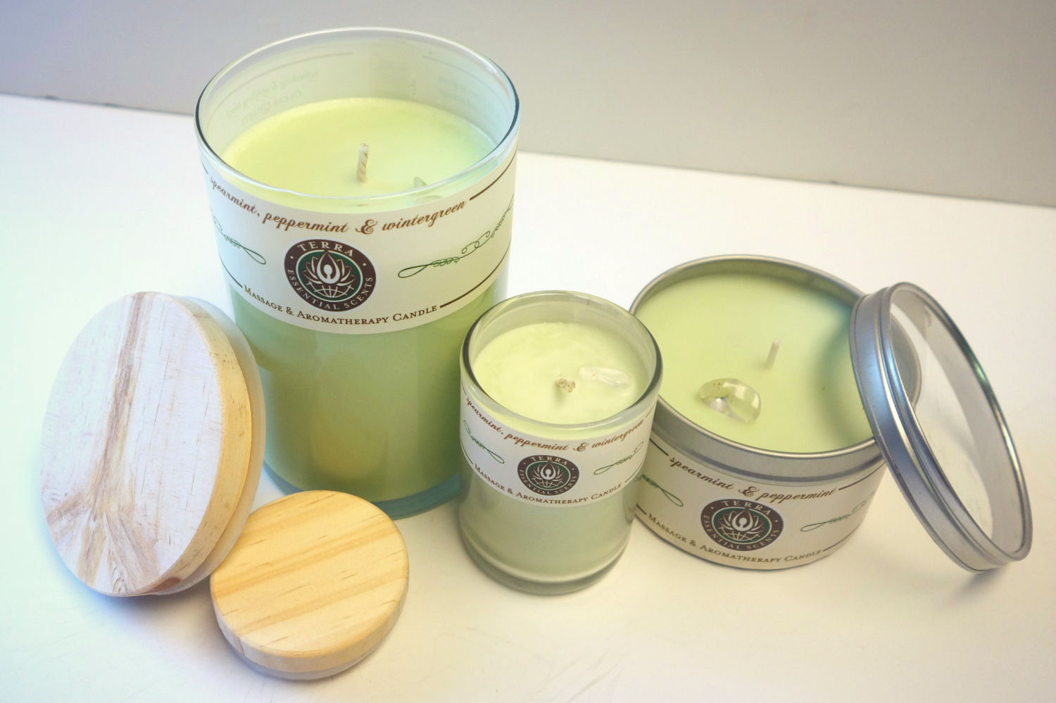 Terra Essential Scents - Spearmint, Peppermint and Wintergreen Aromatherapy & Massage Candles