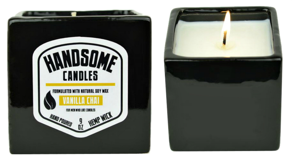 Vanilla Chai Tea Handsome Candle Hand-Poured Made with Soy Wax and Hemp Wick