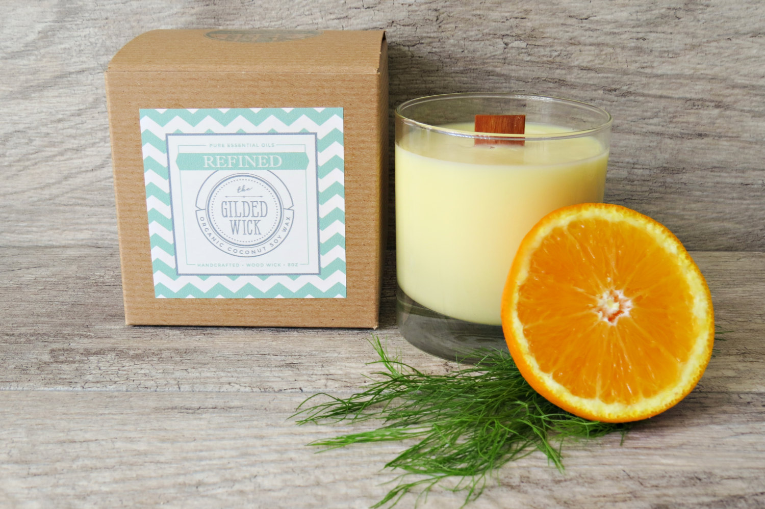 Fennel & Sweet Orange - Pure Essential Oil - Wood Wick - Coconut Soy Wax Candle