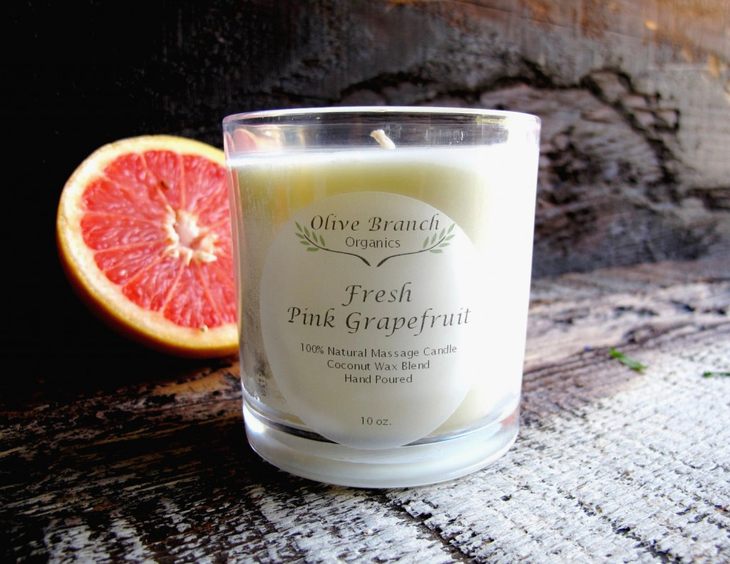 Organic Candle FRESH PINK GRAPEFRUIT Coconut Wax Massage Candle Essential Oils All Natural Aromatherapy