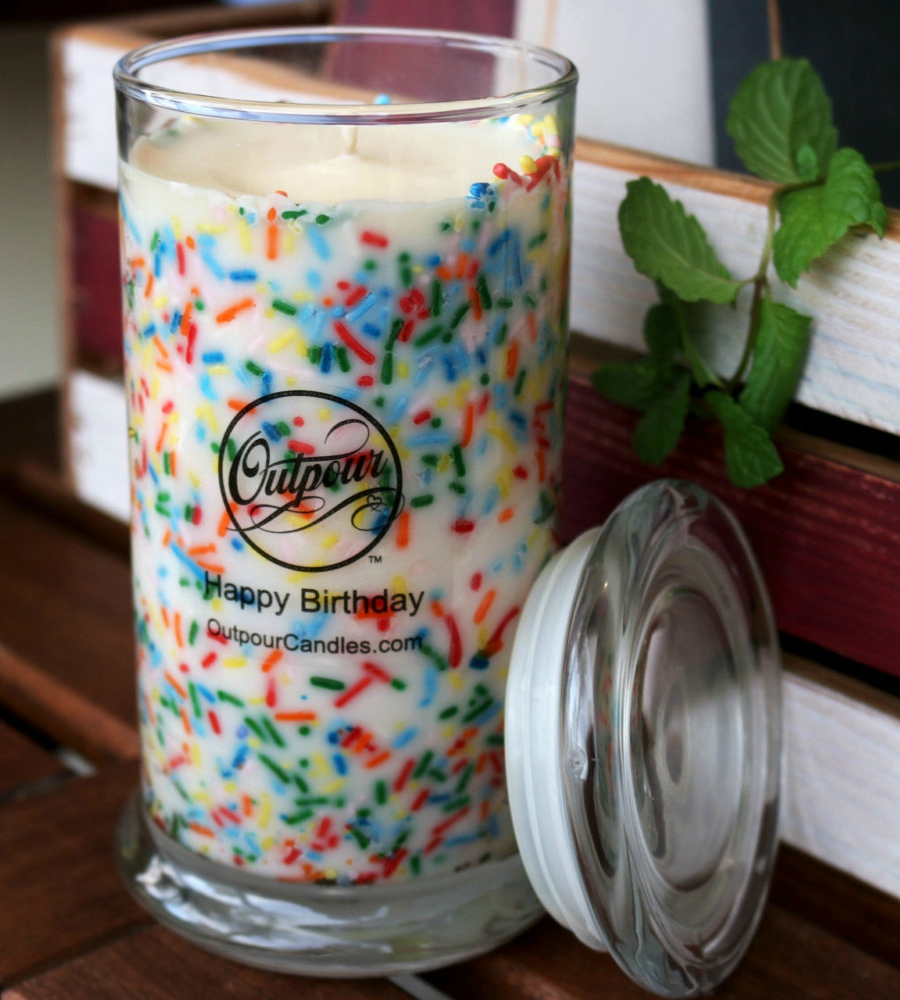 Happy Birthday Sprinkle Candle (Tall) - Vanilla Cake and Frosting Scented Soy Wax - Burns Up to 150 Hours - Portion of Proceeds