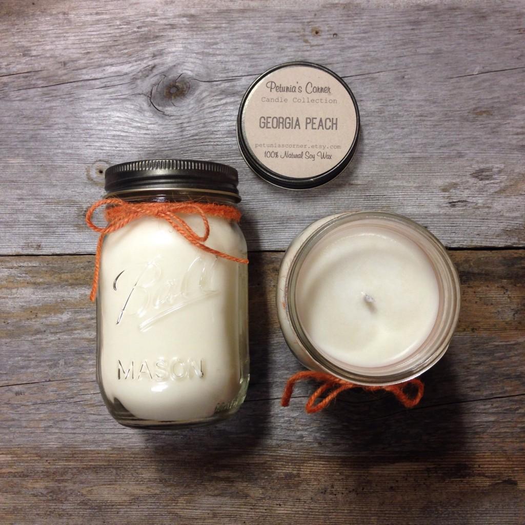Georgia Peach 16oz Mason Jar Soy Candle
