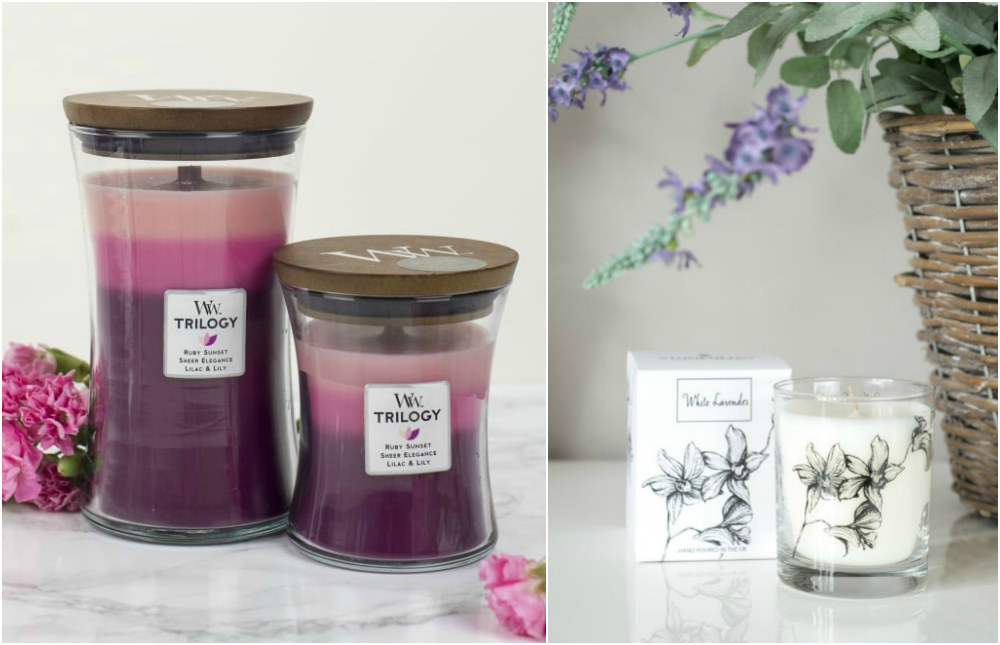 WoodWick Hidden Garden (Ruby Sunset. Sheer Elegance. Lilac & Lily) Trilogy Candle and Stoneglow White Lavender Tumbler