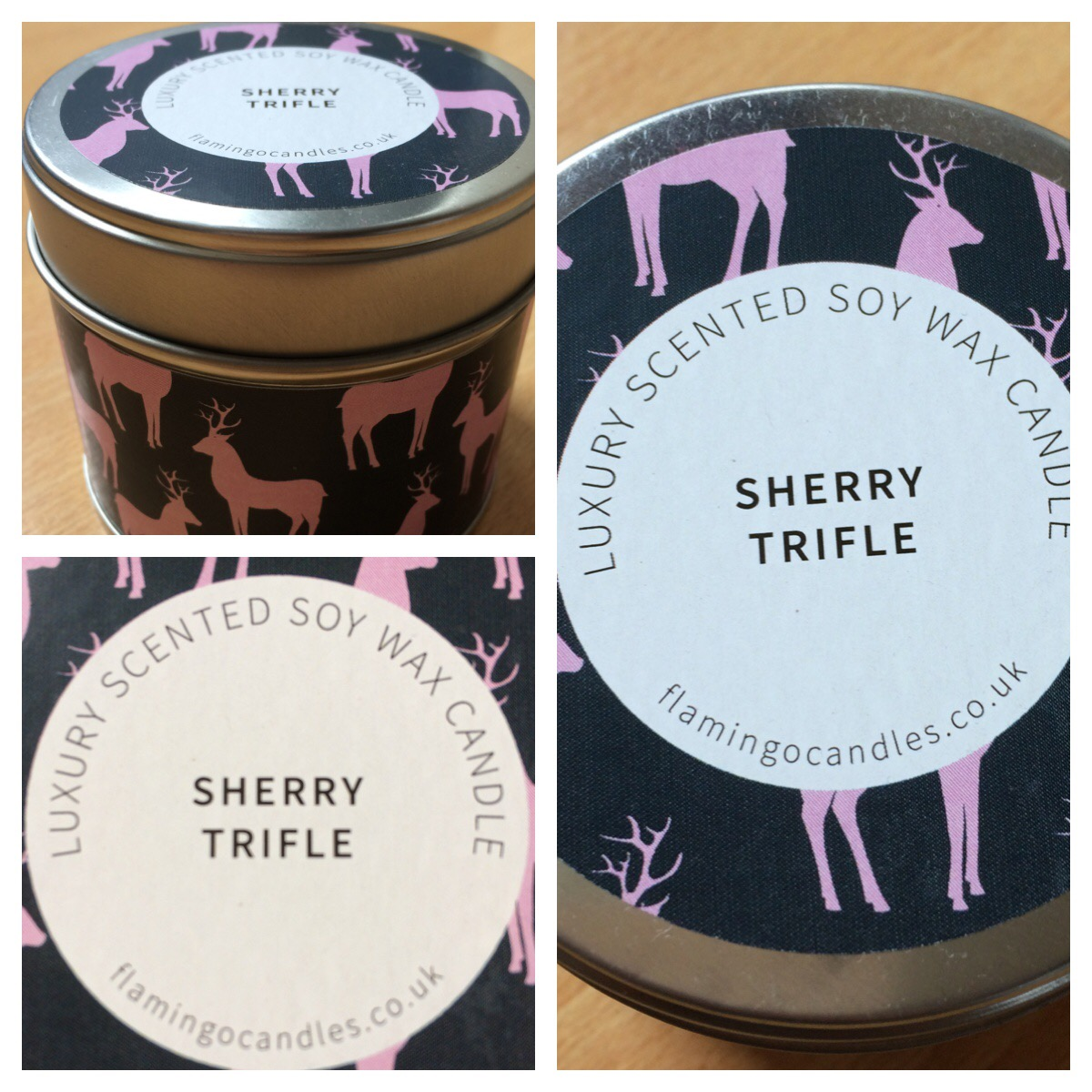 Flamingo Candles Sherry Trifle Stag Print Tin Candle Review